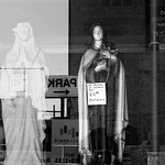 Krieg Brothers Religious Supply window and reflections.  Indianapolis, Indiana -2012